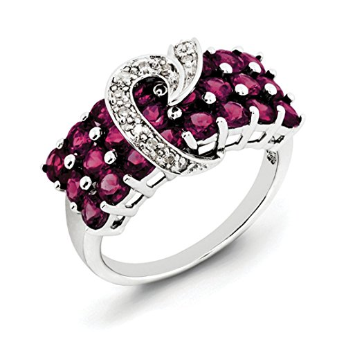 ICE CARATS 925 Sterling Silver Rhodolite Red Garnet Diamond Band Ring Size 7.00 Gemstone Fine Jewelry Gift Set For Women Heart - Garnet Sterling Silver Designer Ring