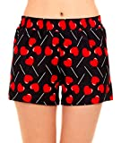 Valentine's Pajama Boxer Shorts Loungewear Bottoms Lollypop Hearts Love, Black Red, Medium