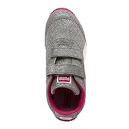 Puma Girls Steeple Glitz Glam V PS Velcro Sneaker (Little Kid/Big Kid), Silver/White/Fuchsia Purple, 13.5 M US Little Kid