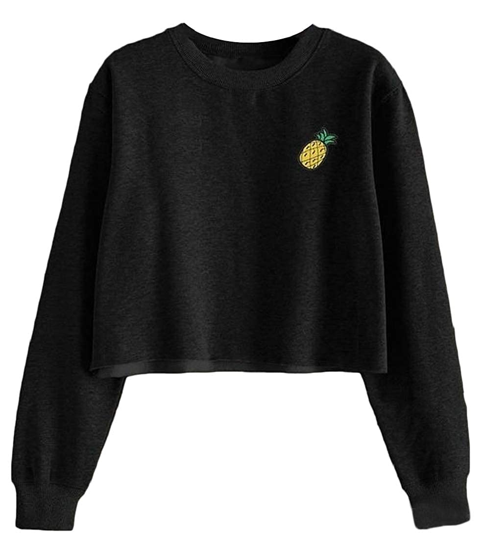 Wofupowga Womens Embroidery Loose Pineapple Top Crop Pullover Sweatshirts