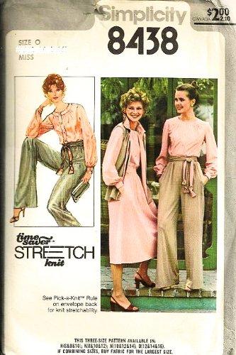 1970s Knit Vintage - Simplicity 8438 Sewing Pattern Misses Blouse Skirt Pant Vest Sash Stretch Knit Size 12-14-16 (Bust 34-36-38), Vintage 1970s