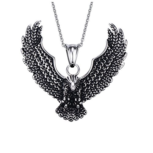 (JAJAFOOK Mens Cool Gothic Tribal Stainless Steel Hawk Eagle Pendant Necklace, 20 inch Chain,Silver with Black)
