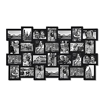 adeco 28 opening black wood basket weave design wall hanging collage photo frame - Wall Hanging Photo Frames Designs