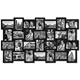 """Adeco PF0553 28-Opening Black Wood Basket-Weave Design Wall Hanging Collage Photo Frame, 4 by 6"""""""
