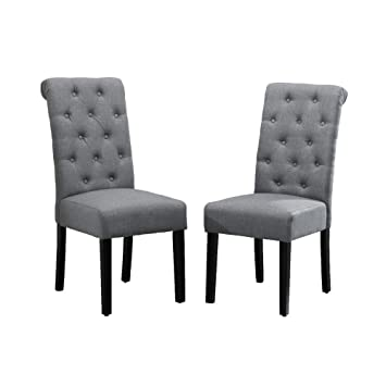 Fabulous Boju Modern Dining Chairs With Button Pair Grey Fabric Upholstered Chairs Wood Black Legs Chairs Comfortable Restaurant Kitchen Furniture Chairs Set Andrewgaddart Wooden Chair Designs For Living Room Andrewgaddartcom
