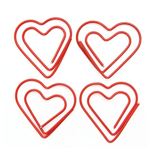 25 Pcs Paper Clip Cute Love Heart Shaped Paper Clips Bookmark Clips for Office School Wedding (Red) (Heart Paperclip Bookmark)