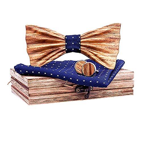 COM1950s Men's Bow Tie Natural Handmade Wooden Collar Vintage Wood Tie Manual Wooden Bow Tie Handkerchief Set (Navy, B)