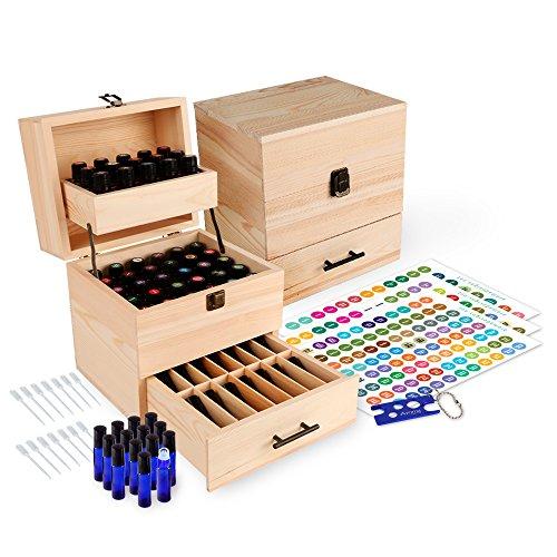 Wooden Essential Oil Box Multi-Tray Organizer W/ 14 10ml Stainless Steel Roller Bottles - Holds 45 5-15ml Essential Oil Bottles & 14 10ml Roller Bottles (59 Total Essential Oils)