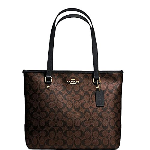 Discount Authentic Coach Handbags - SALE ! New Authentic COACH Monogram C Logo Brown/Black Medium Tote Shoulder Bag