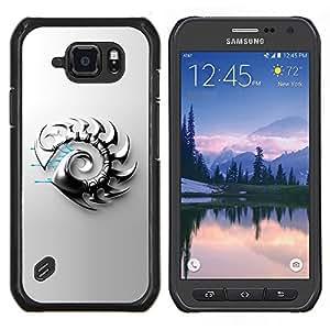Caucho caso de Shell duro de la cubierta de accesorios de protección BY RAYDREAMMM - Samsung Galaxy S6Active Active G890A - Hoja Resumen del metal