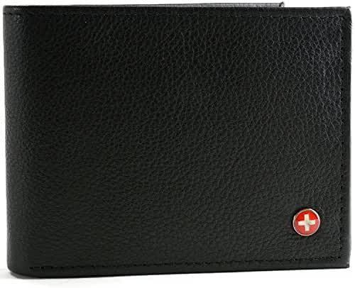 RFID SAFE Alpine Swiss Men's Leather Wallet Hybrid Bifold with Flipout ID