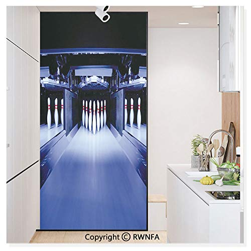 RWN Film Window Films Privacy Glass Sticker Symmetric Bowling Pins in Empty Alley Hobby Fun Challenge Static Decorative Heat Control Anti UV 30In by 59.8In,Blue White Red ()