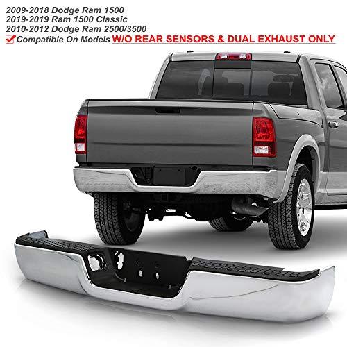 ACANII - For 2009-2018 Dodge Ram 1500 10-12 Ram 2500 3500 Truck Pickup Complete Chrome Steel Rear Step Bumper Assembly
