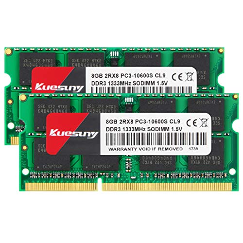 Kuesuny 16GB Kit (8GBX2) DDR3 1333 SODIMM RAM, PC3 10600 / PC3 10600S 204 Pin 1.5V CL9 Non-ECC Unbuffered 2RX8 Dual Rank for Laptop Notebook Computer ()