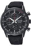 Seiko Men's 43.9mm Black Cloth Band Titanium Case Hardlex Crystal Quartz Analog Watch SSB315P1