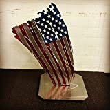 Metal Art of Wisconsin Slanted Stand Alone Weathered Old Glory Painted American Flag Metal Art 2-Foot