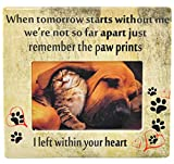 """Home-X Pet Memorial Frame-Paw Prints, Remembrance Picture Frame, Sympathy for Loss of Dog or Cat-8"""" L x 7 3/8"""" W-Fits Standard 4x6 Photograph"""
