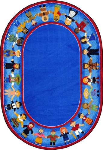 FACES AROUND THE WORLD Premium Cut Pile STAINMASTER Nylon Area Rug (Oval ()