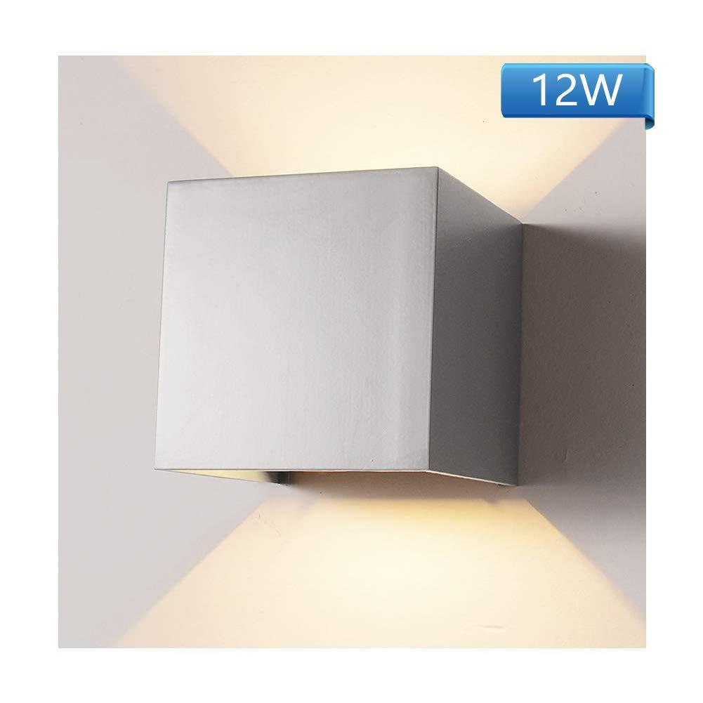 Wandleuchte Sensor f/ür Garten//Flur//Weg Veranda Hell-Eckig Grau 12W Warmes Licht Wasserdicht Verstellbare Aussenlampe Wandleuchte Bewegungsmelder Aussen//Bewegungsmelder Innen LED Wandlampe