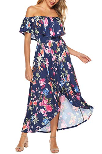 Zattcas Off Shoulder Maxi Dress,Summer Maxi Dress Long Floral Dresses for Women,Navy,Small