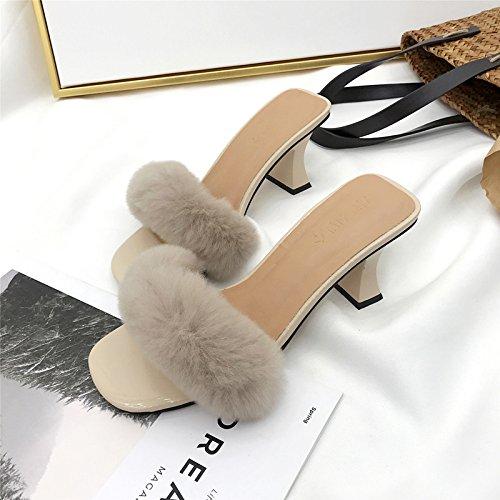 alta sandali ciabattine eleganti versione La di ZHZNVX scarpe apricot nuova coreana Scarpe tacco vXRwAxqC
