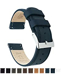 BARTON Quick Release Top Grain Leather Watch Band Strap - Choose Color & Width (18mm, 20mm or 22mm) - Navy Blue 22mm
