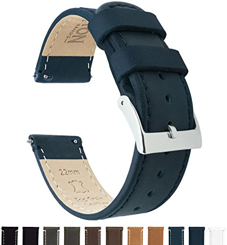 BARTON Quick Release Top Grain Leather Watch Band Strap - Choose Color & Width (18mm, 20mm or 22mm) - Navy Blue 20mm