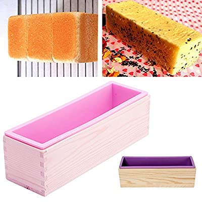 MEXUD-1Pc Rectangle Silicone Soap Mold Wooden Box DIY Tools Toast Loaf Baking Cake Molds