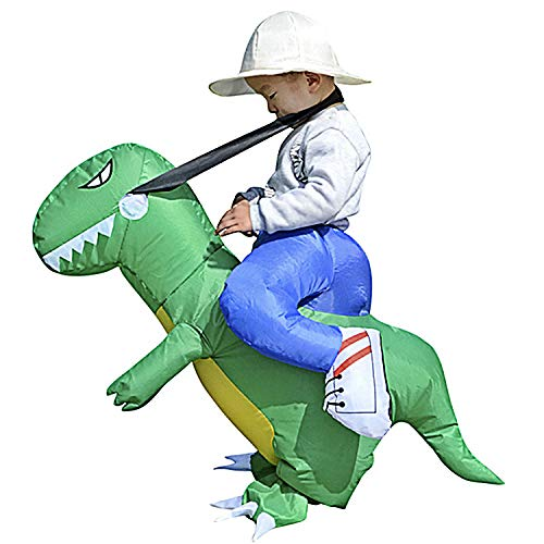 molezu Inflatable Costume Dinosaur, Inflatable Rider Costume Dress Up Halloween Cosplay Suit Teenager Green -