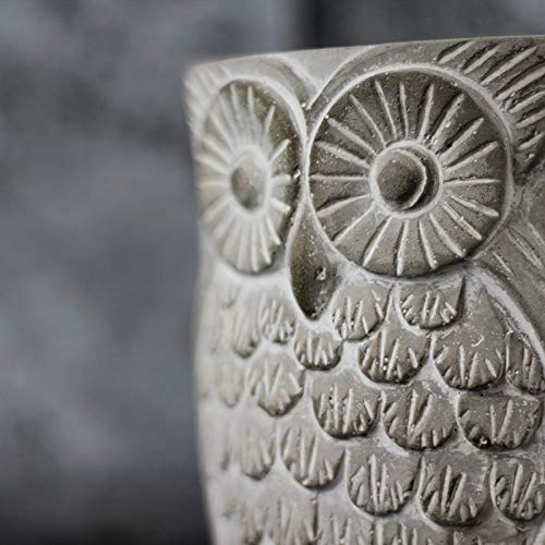 Silicone Mold for Cement Vase Tool Circular with Owl Pattern Concrete Flowerpot Mould by nicole (Image #3)
