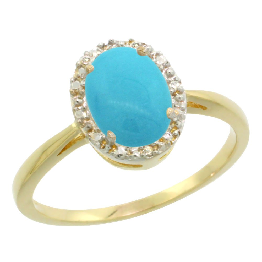 10K Yellow Gold Natural Sleeping Beauty Turquoise Diamond Halo Ring Oval 8X6mm, size 8