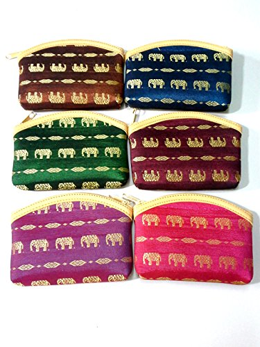 SET OF 6 NEW STYLE#1 BAG ELEPHANT MULTI-COLOR THAI HANDMADE PURSE SMALL WALLET ACCESSORIES VINTAGE SOUVENIR SHIP FROM THAILAND 16-28 DAYS (Coin Set Elephant)