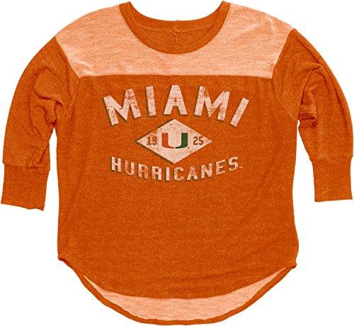 NCAA Miami Hurricanes Women's BK Premium Terry 3/4 Yoke Tee, Orange, Small