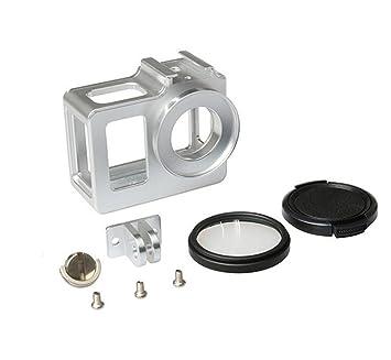 Carcasa protectora Hazziha estándar de plástico, para cámara fotográfica deportiva SJ5000/SJ5000+WiFi y accesorios, bordes negros con marco y base con ...