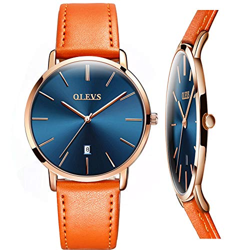 Mens Thin Watches Blue Dial/Black Dial/White Dial,Simple Brown/Black/Yellow Leather Watch Men Rose Gold Casual Waterproof Quartz Business Watch with Date,Men's Stainless Steel Minimalist Wrist Watch ()