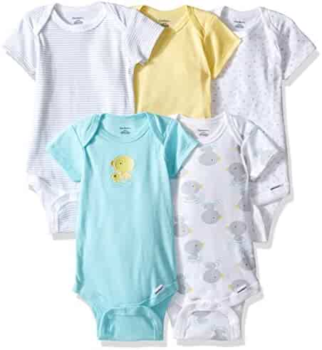Gerber Baby Girls' 5 Pack Solid Onesies
