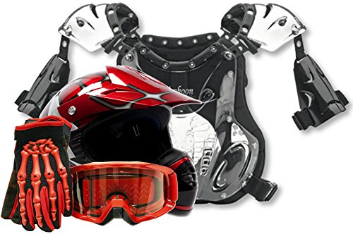Youth Kids Peewee Offroad Gear Combo Helmet Gloves Goggles Chest Protector Motocross ATV Dirt Bike Red Spiderman - Medium