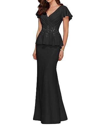 e4d2723fe4b JINGDRESS V Neck Mother of The Bride Dresses Appliques Beaded Chiffon  Evening Prom Dress Black