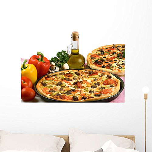Wallmonkeys Pizza and Italian Kitchen Wall Decal Peel and Stick Graphic (36 in W x 25 in H) WM110346