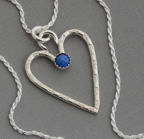 1 inch sterling silver denim blue lapis lazuli heart necklace pendant