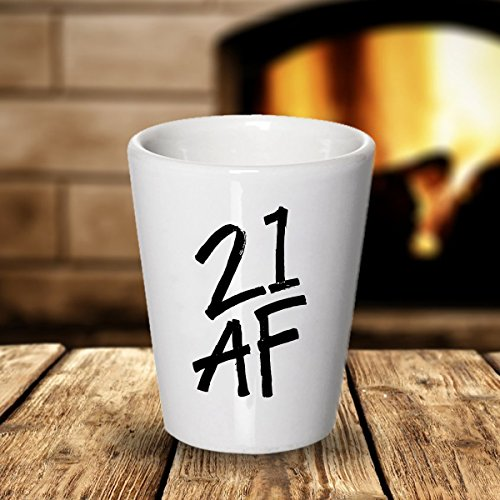 21st Birthday Shot Glass, 21 AF Shotglass, Gag Gift For Women and Men Turning Twenty One, Birthday Party Gift For Guys & Girls Born In 1996