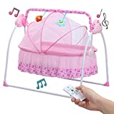 Baby Cradle Swing - Big Space Electric Automatic Baby Swings for Infants Indoor&Outdoor Outside with Dolls - Music. Boys or Girls bassinets Gift (Pink)