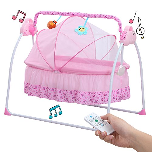 Baby Cradle Swing, Big Space Electric Automatic Baby Swings for Infants Indoor&Outdoor Outside with Dolls, Music. Boys or Girls bassinets Gift (Pink)