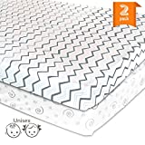 Travel Pack N Play Pack N Play Playard Portable Mini Crib Sheet Set – 2 Pack Jersey Cotton Fitted Sheets – Grey/White Unisex Bedding for Baby Boy and Baby Girl