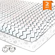 Pack N Play Playard Portable Mini Crib Sheet Set – 2 Pack Jersey Cotton Fitted Sheets – Grey/White Unisex Bedding for Baby Boy and Baby Girl