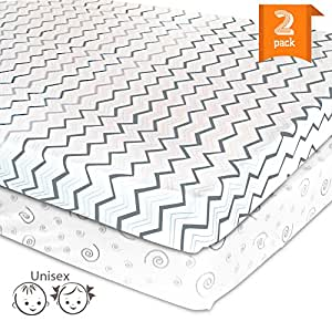 Pack N Play Playard Portable Crib Sheet Set – 2 Pack Jersey Cotton Fitted Sheets – Grey/White Unisex Bedding for Baby Boy and Baby Girl