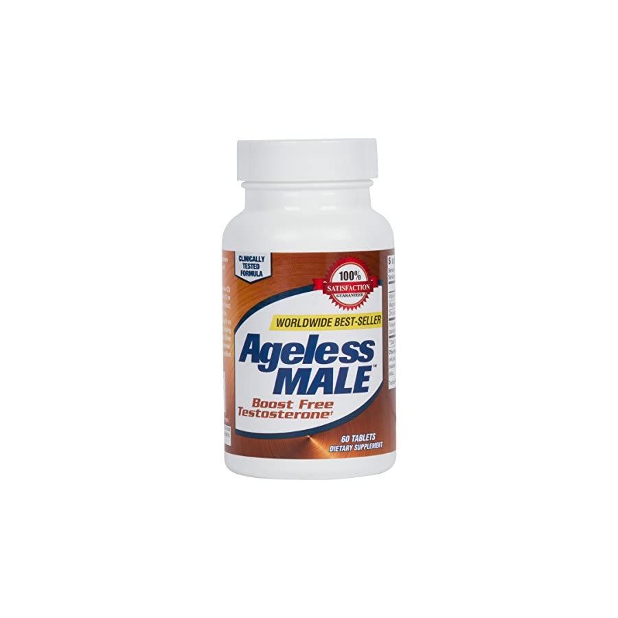 Ageless Male Testosterone Booster Supplement for Muscle Growth & Drive + E BOOK! (60 Tablets)