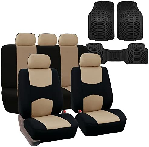 FH Group FB051115 Multi-Functional Flat Cloth Car Seat Covers, Beige/Black, Airbag Compatible and Split Bench with F11306 Vinyl Floor Mats- Fit Most Car, Truck, SUV, or Van