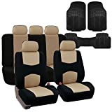 2012 camaro vinyl - FH GROUP FH-FB051115 Multifunctional Flat Cloth Car Seat Covers, Beige / Black, Airbag compatible and Split Bench with F11306 Vinyl Floor Mats- Fit Most Car, Truck, Suv, or Van