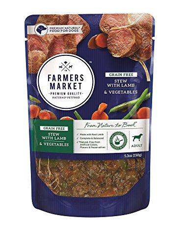 Farmers Market Pet Food Premium Natural Grain-Free Wet Dog Food Pouch, 5.3 oz, Lamb & Vegetables (Case of 24)